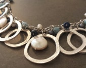 Rustic Silver Loop Bib Necklace - Big Statement Necklace - Lapis lazuli, Pearl, Pyrite, Amazonite - Blue and Turquoise