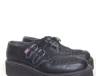 VTG Mondo Lo TUK CREEPERS Mens 10 Blk Made In England 90s Platform Shoes