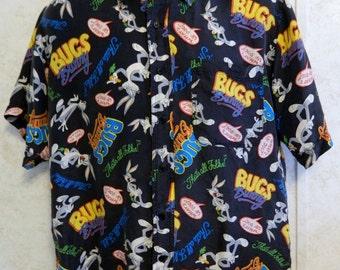 Silk Violet Men's 100% Washed Silk Shirt w/ Bugs Bunny Cartoon Logo Size Medium