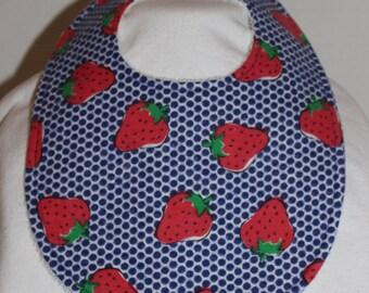 Strawberry Flannel / Terry Cloth Bib