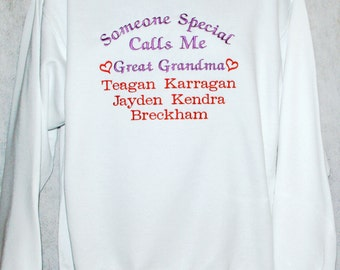 Great Grandma Sweatshirt, Custom Grandparent Gift, Nana, Mimi, Oma, Gammy, With Five Grandkids Names, No Shipping Fee, Ships TODAY, AGFT 368