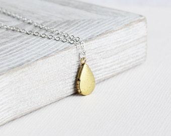 Small Locket Necklace - Raw Brass Locket Teardrop Necklace on Sterling Silver Chain, Two Tone Necklace, Tiny Locket Pendant, Simple Jewelry