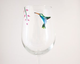 Hummingbird Art - Hummingbird and Flower Wine Glass - Hand Painted - Unique Glassware - Wine Lover Gift - Floral Hostess Gift - Bell Flowers