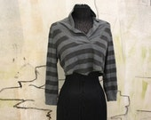 Cowl Neck Half Sweater / Cropped Sweater / Striped Sweater Shrug