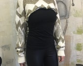 Zig Zag Sweater Shrug / Layering Top / Cropped Sweater / Overbust / Half Sweater