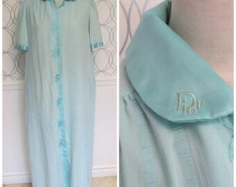 Powder Blue Christian Dior Vintage Robe | Satin Seersucker Woman's Loungewear Housecoat |  Large XL