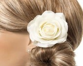 Cream WhiteRose Hair Clip, Real Touch Wedding Hair Fascinator Hair Head Piece. bridesmaids, prom Real Touch Flowers. Tea Rose Collection
