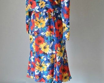 Vintage Floral Dress 80s Primary Color Floral Bias Cut Dress Long Sleeve Dress XS S