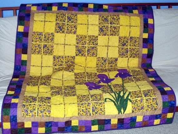 Purple Iris Patchwork Quilt