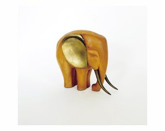 Vintage Large Wood and Brass Elephant