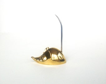 Vintage Brass Mouse Ring / Note Holder