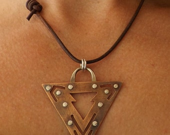 Mens/Unisex Necklace Mixed Metal, Sterling Silver and Copper Necklace, Oxidized Pendant, Triangle Pendant on Etsy by Mary-anne Fountain