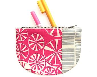 Screenprinted zipper pouch // organic cotton/hemp pouch // make-up bag
