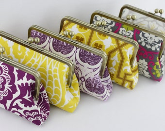 Purple and Yellow Floral Wedding Clutches, Lavender Bridesmaids Clutches, Kisslock Frame Clutches - Set of 6