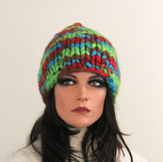 Chunky knitted hat wool multicolor green red blue brown  warm winter pretty unisex Regina Doseth handmade Lithuania EU