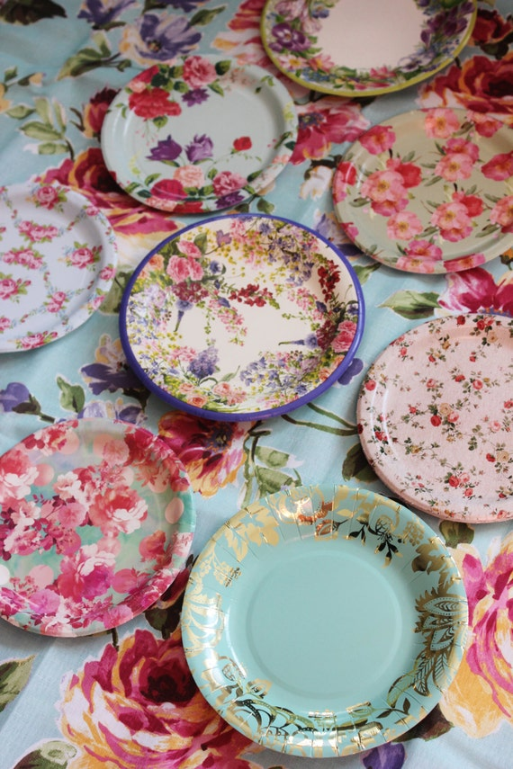 8 FLORAL TEA PARTY Paper Plates Mismatched China Parisian Vintage Style Shabby Chic Cottage Garden Spring Blue Pink Roses French English & 8 FLORAL TEA PARTY Paper Plates Mismatched China Parisian Vintage ...