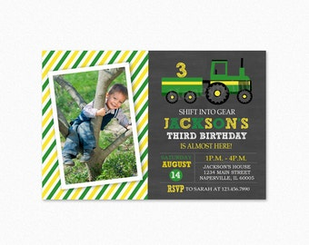 Tractor Birthday Party Invitation, Tractor Birthday Invitation, 1st Birthday, Photo, Personalized, Printable or Printed