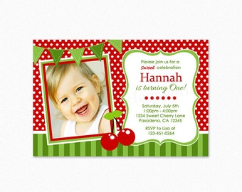 Cherry Birthday Party Invitation, Sweet Cherry Birthday Party Invitation, Printable Invitation, Digital File
