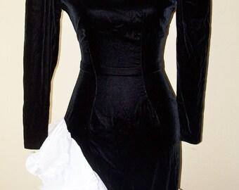 Vintage 1980s Black White Dave & Johnny Dress Sz 3/4