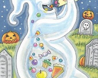 Hungry Ghost Goblin Halloween Fantasy EHAG Art ACEO Susan Brack Ebsq