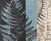 Small wall art Original botanical monoprint Handmade modern art print by Stef Mitchell Ferns from an ancient woodland Turquoise blue black