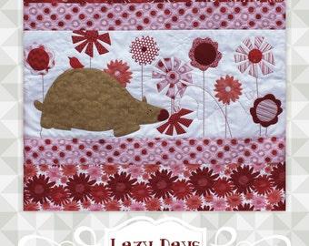 Instant Download- Lazy Days Quilt Pattern.  Panel quilt. Bear and flower theme pattern. Big appliqué pieces. appliqué tutorial. Fusible web