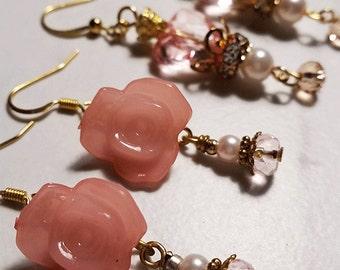 Royalty - earrings [in pink] // Gold plated finish hook drop lightweight earrings