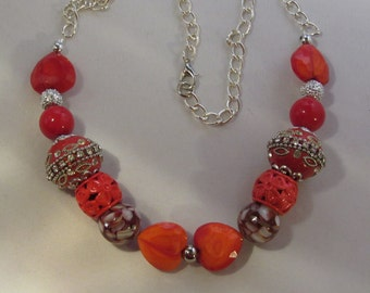 Red Orange Hearts Necklace