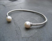 Cultured pearl sterling silver cuff bracelet