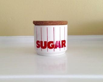 Vintage Hornsea England Red Striped Sugar Jar