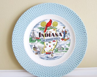 Vintage Indiana State Plate with Baby Blue Rim