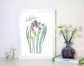 Wildflower Art Print , A4 illustration Print