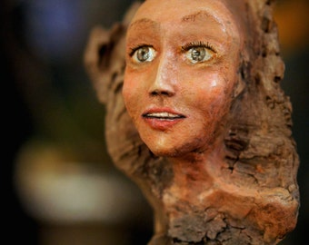 Tree Nymph Sculpture. Clay and Wood Carving by Fae Factory Visionary Artist Dr Franky Dolan (Figurative Sculptural Art Doll OOAK Nature Art)