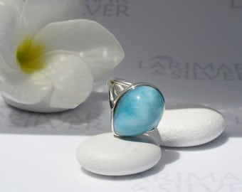 Larimarandsilver ring size 7.25, Elvin Tear - iridescent ice blue Larimar pear, sky blue, topaz blue ring, water drop, handmade Larimar ring