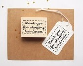 Thank You For Shopping Handmade Rubber Stamp, Stitched Border, Great for Pretty Packaging