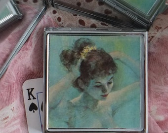 Degas Ballerina in Aqua and Cream - Compact Purse Sized Mirror made from Upcycled Playing Card