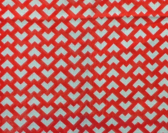 Red White V Shapes, Semi Sheer Print, Fashion Fabric, Very Lightweight Cotton Blend, 44 x 33, B8