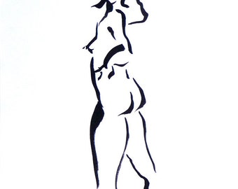 Original Sumi Figure Painting, 25% OFF SALE! Black-White, Female, Nude, Woman, Brush & Ink, standing, back twist, gift, home decor, wall art
