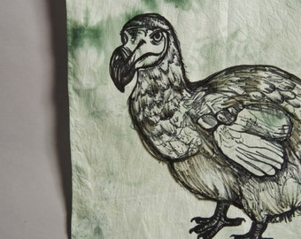 HAND DYED COTTON Scarf - Hand Drawn Alice In Wonderland Dodo - Tea And Moss Green