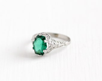 Sale - Vintage 10k White Gold Simulated Emerald Floral Filigree Ring - Antique Size 5 Art Deco 1920s Green Glass Fancy Cut A&S Fine Jewelry