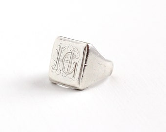 Antique Sterling Silver HG Signet Ring - Size 7 1/4 Vintage Art Deco 1920 Monogrammed Women's Initial Personalized Statement Jewelry