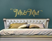 Mr and Mrs Wall Decor Gold Vinyl Wall Decal - Mr and Mrs Headboard Wall Decal - Gold Bedroom Decal - Script Font Decal (0171b31v-r3)