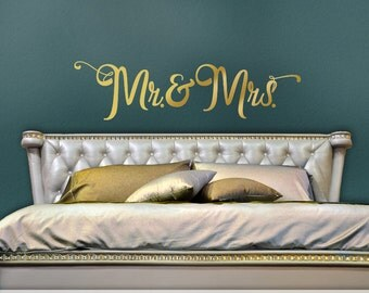Mr and Mrs Wall Decor Gold Vinyl Wall Decal - Mr and Mrs Headboard Wall Decal - Gold Bedroom Decal - Script Font Decal (0179c15v)