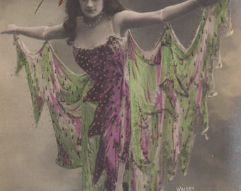 Dancer Invokes Super Power of Lightning! French Postcard, circa 1900