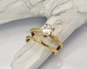Pear Shaped Bridal engagement & wedding ring | Twig engagement ring | 14k yellow gold ring | white sapphire center stone