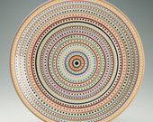Serving Platter Stripes and Dots Hand Painted Dinnerware
