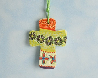 Textured Cross Ornament Hand Made, Textured, and Painted