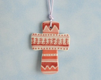 Baptism Cross Ornament Hand Painted Shades of Pink