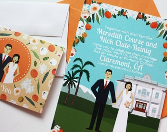 Illustration co visit chicks n hens by chicksnhens invite card custom illustrated wedding invitations design fee stopboris Choice Image