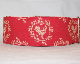 Country Rustic Martingale Dog Collar - 1.5 or 2 Inch - red gold rooster chicken bird